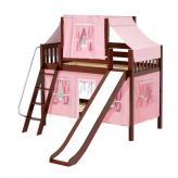 Bluff Low Bunk by Maxtrix Kids: Chestnut, Slats, Full, Slide, 23-Pink / White