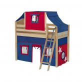 Bongo Mid Loft by Maxtrix Kids: Natural, Curved, Twin, 21-Blue / Red