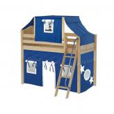 Bongo Mid Loft by Maxtrix Kids: Natural, Curved, Twin, 22-Blue / White