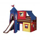 Brainy Low Loft by Maxtrix Kids: Chestnut, Panel, Twin, Slide, 29-Red / Blue / Yellow
