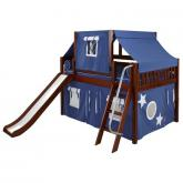 Ditto Low Loft by Maxtrix Kids: Chestnut, Slats, Full, Slide, 22-Blue / White