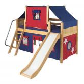 Dome Low Loft by Maxtrix Kids: Natural, Panel, Twin, Slide, 21-Blue / Red