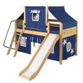 Dome Low Loft by Maxtrix Kids: Natural, Panel, Twin, Slide, 22-Blue / White