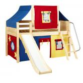Dome Low Loft by Maxtrix Kids: Natural, Panel, Twin, Slide, 29-Red / Blue / Yellow