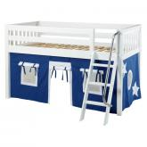 Easy Rider Low Loft by Maxtrix Kids: White, Slats, Twin, 22-Blue / White