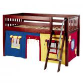 Easy Rider Low Loft by Maxtrix Kids: Chestnut, Slats, Twin, 29-Red / Blue / Yellow