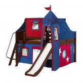 Fantastic Low Loft by Maxtrix Kids: Chestnut, Curved, Full, Slide, 21-Blue / Red