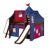 Fantastic Low Loft by Maxtrix Kids: Chestnut, Panel, Full, Slide, 21-Blue / Red