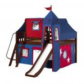 Fantastic Low Loft by Maxtrix Kids: Chestnut, Slats, Full, Slide, 21-Blue / Red
