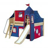 Fantastic Low Loft by Maxtrix Kids: Natural, Curved, Full, Slide, 21-Blue / Red
