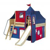 Fantastic Low Loft by Maxtrix Kids: Natural, Panel, Full, Slide, 21-Blue / Red