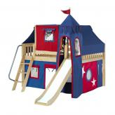 Fantastic Low Loft by Maxtrix Kids: Natural, Slats, Full, Slide, 21-Blue / Red
