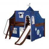 Fantastic Low Loft by Maxtrix Kids: Chestnut, Curved, Full, Slide, 22-Blue / White