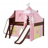 Fantastic Low Loft by Maxtrix Kids: Chestnut, Curved, Full, Slide, 25-Pink / Yellow / Green
