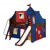 Fantastic Low Loft by Maxtrix Kids: Chestnut, Curved, Full, Slide, 29-Red / Blue / Yellow