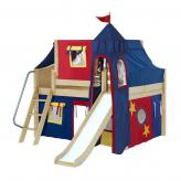 Fantastic Low Loft by Maxtrix Kids: Natural, Curved, Full, Slide, 29-Red / Blue / Yellow