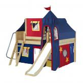 Fantastic Low Loft by Maxtrix Kids: Natural, Panel, Full, Slide, 29-Red / Blue / Yellow