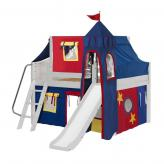 Fantastic Low Loft by Maxtrix Kids: White, Curved, Full, Slide, 29-Red / Blue / Yellow