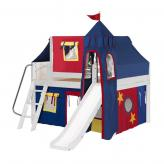 Fantastic Low Loft by Maxtrix Kids: White, Panel, Full, Slide, 29-Red / Blue / Yellow