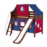 Giggle Low Bunk by Maxtrix Kids: Chestnut, Curved, Twin, Slide, 21-Blue / Red