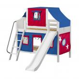 Giggle Low Bunk by Maxtrix Kids: White, Curved, Twin, Slide, 21-Blue / Red