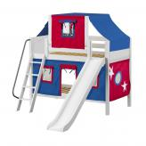 Giggle Low Bunk by Maxtrix Kids: White, Panel, Twin, Slide, 21-Blue / Red