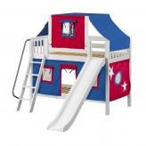 Giggle Low Bunk by Maxtrix Kids: White, Slats, Twin, Slide, 21-Blue / Red