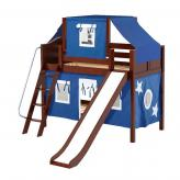 Giggle Low Bunk by Maxtrix Kids: Chestnut, Curved, Twin, Slide, 22-Blue / White