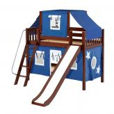 Giggle Low Bunk by Maxtrix Kids: Chestnut, Slats, Twin, Slide, 22-Blue / White