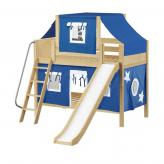 Giggle Low Bunk by Maxtrix Kids: Natural, Panel, Twin, Slide, 22-Blue / White