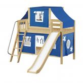 Giggle Low Bunk by Maxtrix Kids: Natural, Slats, Twin, Slide, 22-Blue / White