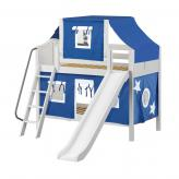 Giggle Low Bunk by Maxtrix Kids: White, Curved, Twin, Slide, 22-Blue / White