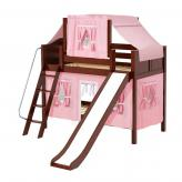 Giggle Low Bunk by Maxtrix Kids: Chestnut, Curved, Twin, Slide, 23-Pink / White