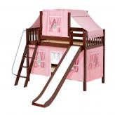 Giggle Low Bunk by Maxtrix Kids: Chestnut, Slats, Twin, Slide, 23-Pink / White