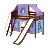 Giggle Low Bunk by Maxtrix Kids: Chestnut, Curved, Twin, Slide, 27-Purple / Blue / Hot Pink