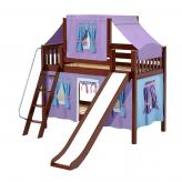 Giggle Low Bunk by Maxtrix Kids: Chestnut, Slats, Twin, Slide, 27-Purple / Blue / Hot Pink