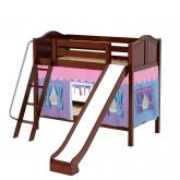 Happy Med Bunk by Maxtrix Kids: Chestnut, Curved, Twin, Slide, 27-Purple / Blue / Hot Pink
