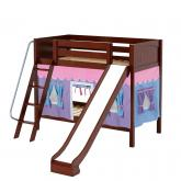 Happy Med Bunk by Maxtrix Kids: Chestnut, Panel, Twin, Slide, 27-Purple / Blue / Hot Pink