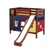 HipHip Med Bunk by Maxtrix Kids: Chestnut, Slats, Full, Slide, 29-Red / Blue / Yellow