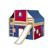 Home Low Loft by Maxtrix Kids: Natural, Slats, Twin, Slide, 21-Blue / Red