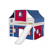 Home Low Loft by Maxtrix Kids: White, Slats, Twin, Slide, 21-Blue / Red