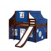 Home Low Loft by Maxtrix Kids: Chestnut, Curved, Twin, Slide, 22-Blue / White