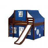 Home Low Loft by Maxtrix Kids: Chestnut, Panel, Twin, Slide, 22-Blue / White