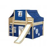 Home Low Loft by Maxtrix Kids: Natural, Curved, Twin, Slide, 22-Blue / White