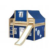 Home Low Loft by Maxtrix Kids: Natural, Slats, Twin, Slide, 22-Blue / White
