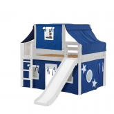 Home Low Loft by Maxtrix Kids: White, Curved, Twin, Slide, 22-Blue / White