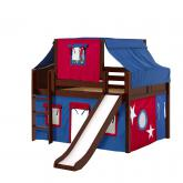 Home Low Loft by Maxtrix Kids: Chestnut, Curved, Twin, Slide, 21-Blue / Red