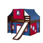 Home Low Loft by Maxtrix Kids: Chestnut, Panel, Twin, Slide, 21-Blue / Red