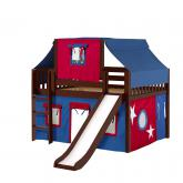 Home Low Loft by Maxtrix Kids: Chestnut, Slats, Twin, Slide, 21-Blue / Red