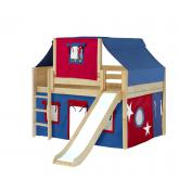 Home Low Loft by Maxtrix Kids: Natural, Panel, Twin, Slide, 21-Blue / Red